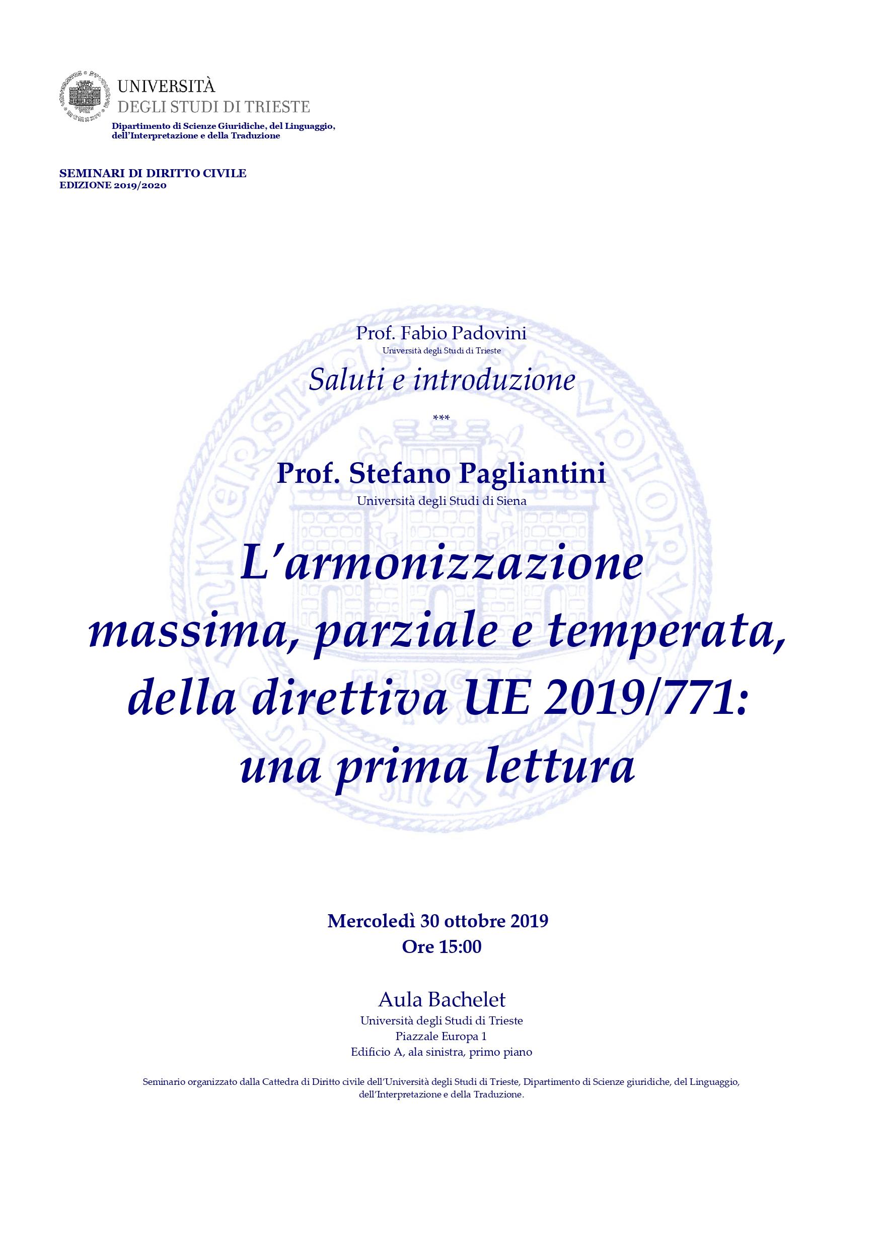 Seminario Prof. Pagliantini - 30 ottobre 2019